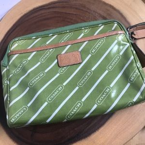 COACH Lime Coated Canvas Striped Cosmetic Bag
